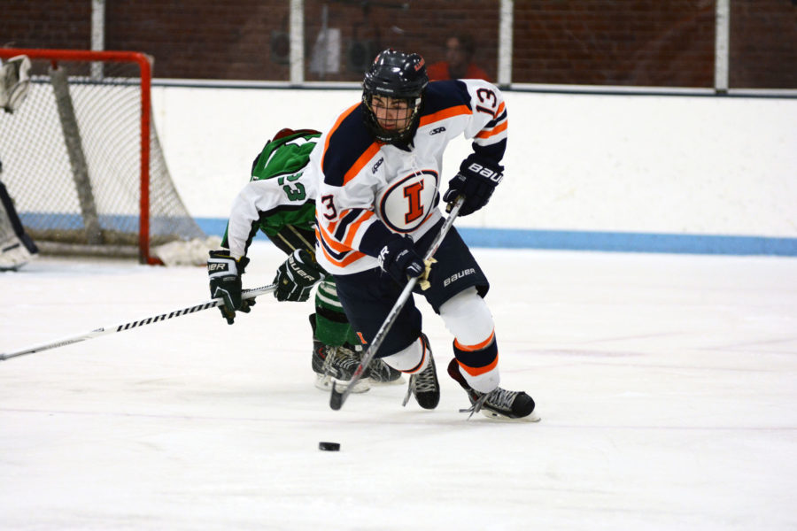 Illinois' James Mcging (13) looks for an open pass during the game against Michigan State at the Ice Arena on Saturday, Sep. 19, 2015. Illinois won 4-2.