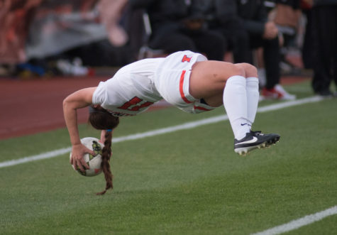 Nicole Breece performs a flip throw during the game against Ohio State at Illinois Soccer and Track Stadium on Friday. The game ended in a 1-1 tie.