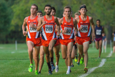 D. Lathrop(288), G. Lee(289), Z. Smith(293), and B. Magnesen(290) taking the lead together during the first pass at the Illini Challenge 2015 at the Arboretum on September 4.