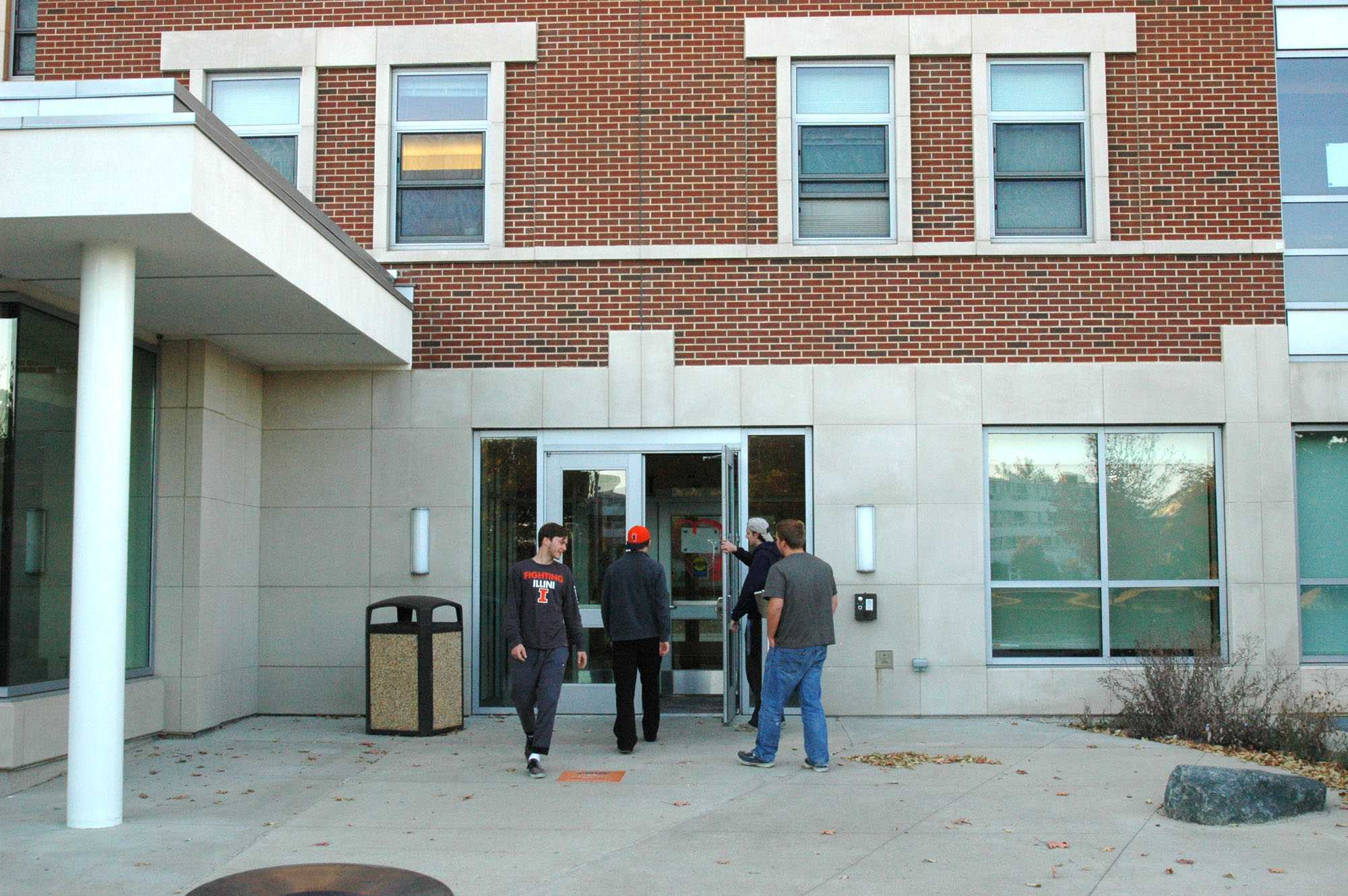 A group of freshman entering Nugent Hall. From the left, Graham Hubbert (Business), Dennis Damico (Agro-Bio), Conor Lipinski (Comp Eng), and Peter Sokalski (Mechanical Eng) on October 17, 2015.