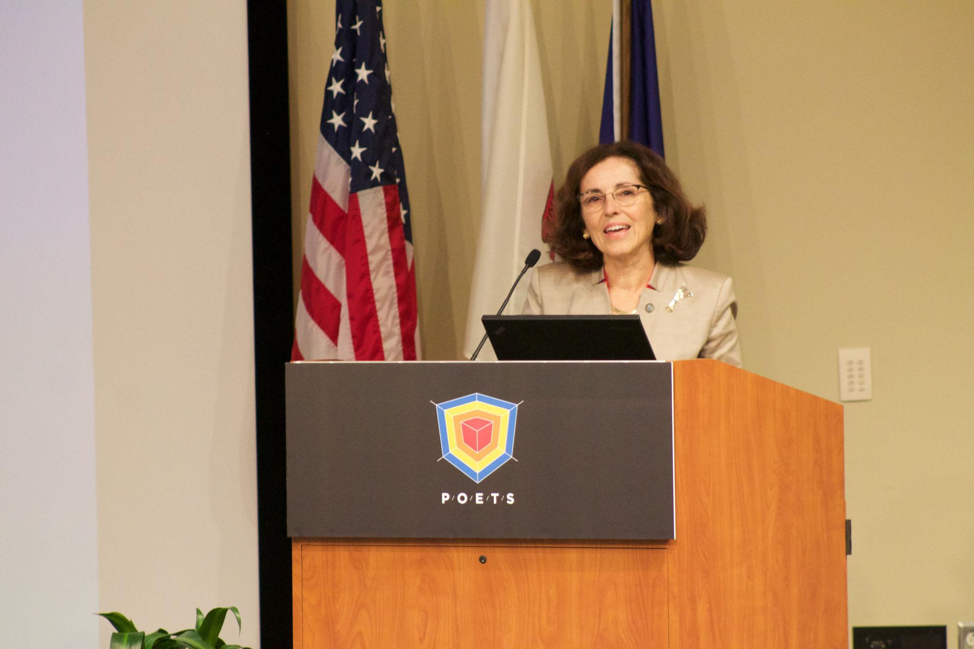 NSF Director Dr. France Cordova speaking about POETS, a new Engineering Research Center on Thursday, October 15.