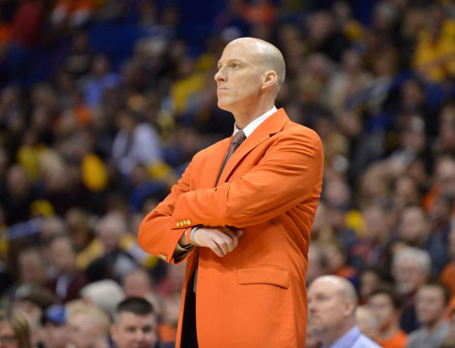 Illinois' head coach John Groce reacts to a foul call during the game against Missouri at Scottrade Center in St. Louis, Missouri on Saturday, Dec. 20, 2014.