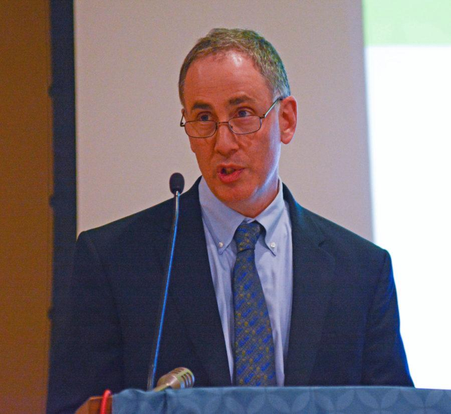 Vice Chancellor for Research, Peter Schiffer discusses the goals and structure of The Illinois Climate Action Plan at the Illini Uinion, on Oct. 21, 2015.