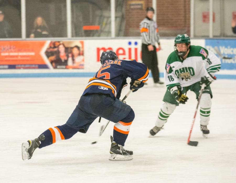 Illinois left wing Eric Cruickshank takes a shot during Saturdays game against Ohio University at the Ice Arena. Cruickshank had both Illini goals during the game but missed his shootout attempt. Illinois lost in the shootout 2-3 but split the two game series 1-1.