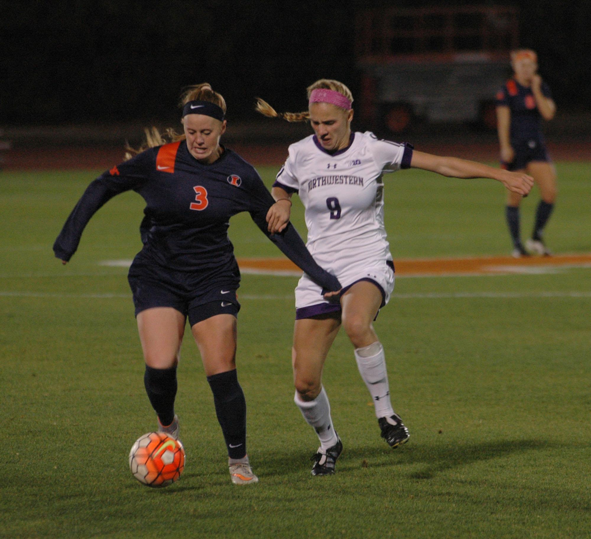 Jannelle Flaws keeping the ball away from Northwestern during the Illinois vs Northwestern game at The Illinois Soccer and Track Stadium on October 24, 2015.