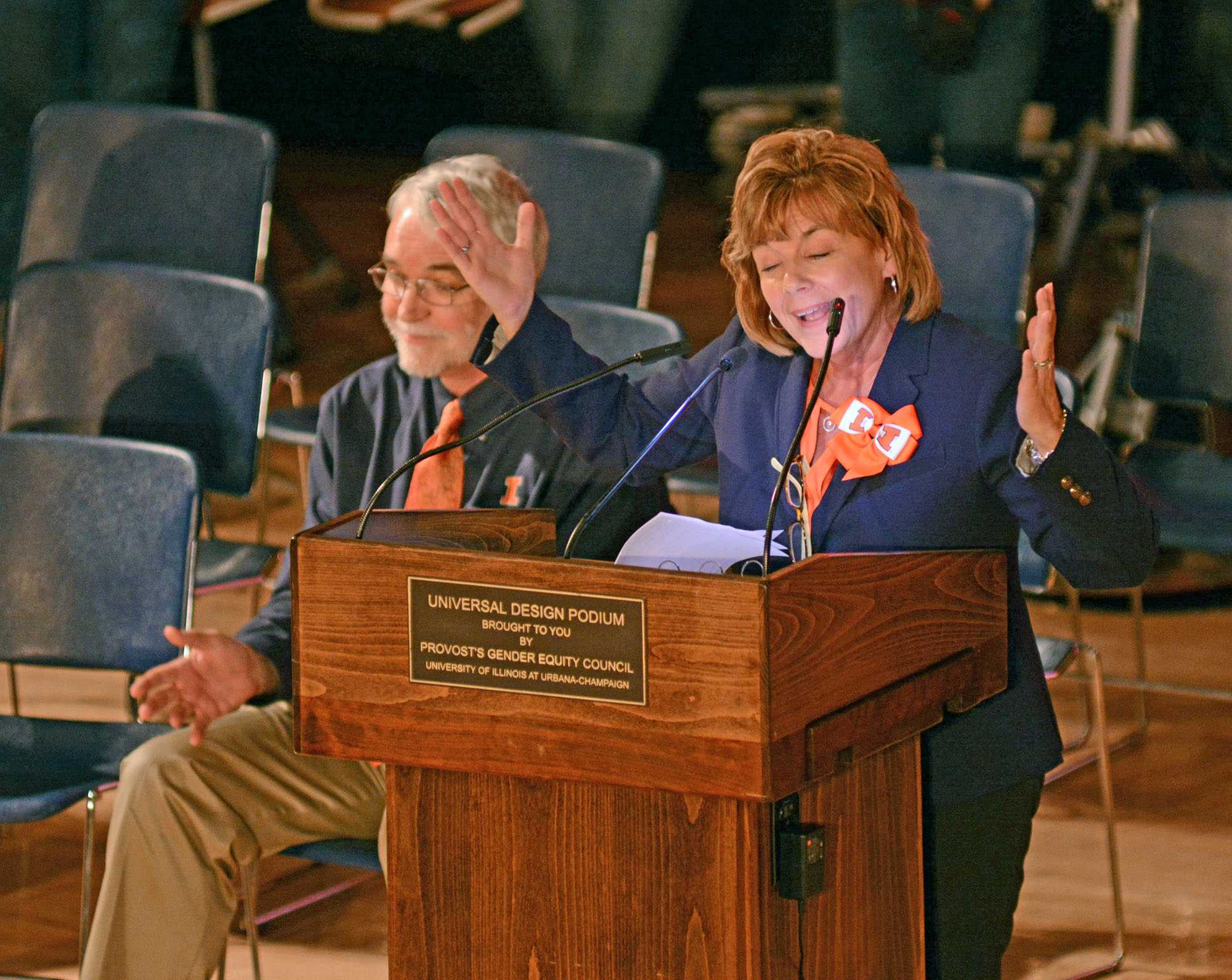 Chancellor, Barbara Wilson at the homecoming pep rally on Friday, Oct. 23, 2015.