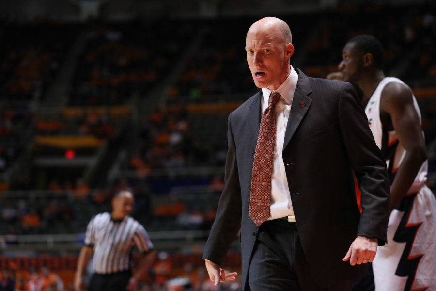Illinois' head coach John Groce instructs his team during the game against Kennesaw State at State Farm Center on Dec. 27, 2014. The Illini won 93-45.