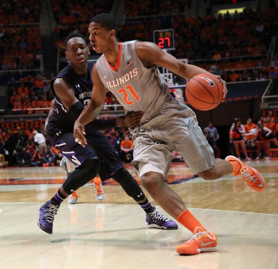 Illinois%27+Malcolm+Hill+%2821%29+drives+to+the+basket+during+the+game+against+Northwestern+at+State+Farm+Center%2C+on+Saturday%2C+Feb.+28%2C+2015.+The+Illini+won+86-60.