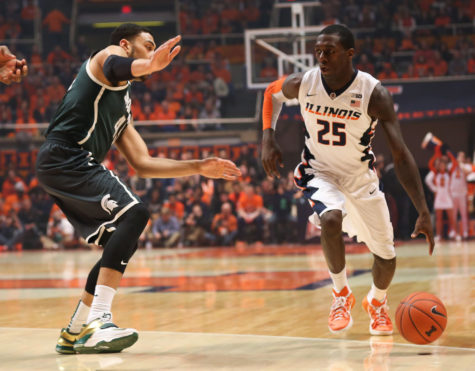 Illinois' Kendrick Nunn (25) looks to drive to the basket during the game against Michigan State at State Farm Center, on Feb. 22, 2014. The Illini lost 60-53.