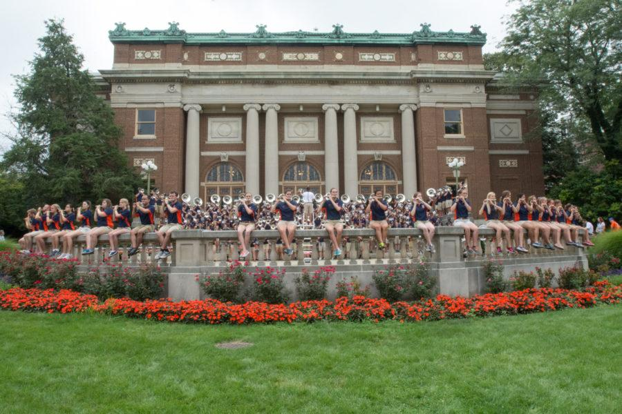 The Marching Illini perform on the Foellinger terrace at Quad Day 2015.