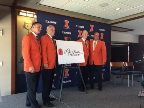 Illinois athletic director Mike Thomas, Lou Henson, Illinois men's basketball head coach John Groce, and Illinois women's basketball head coach Matt Bollant at the ceremony announcing the naming of State Farm Center's court
