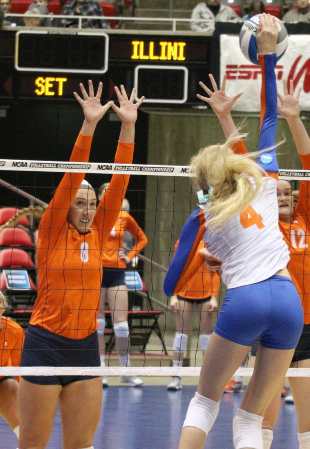 Illinois' Alexis Viliunas attempts to block a hit from Florida's Carli Snyder during the NCAA Third Round v. Florida at Hilton Coliseum on Friday, Nov. 12.