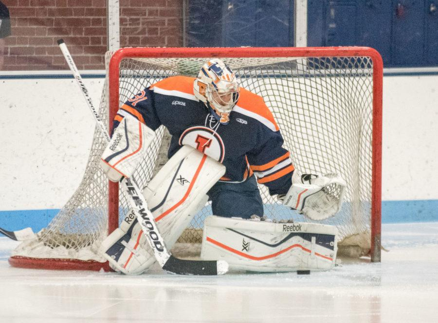 Goalkeeper+Joe+Olen+makes+a+save+in+the+game+against+Ohio+University+at+the+Ice+Arena+on+Friday%2C+October+23.+Illinois+won+2-0.