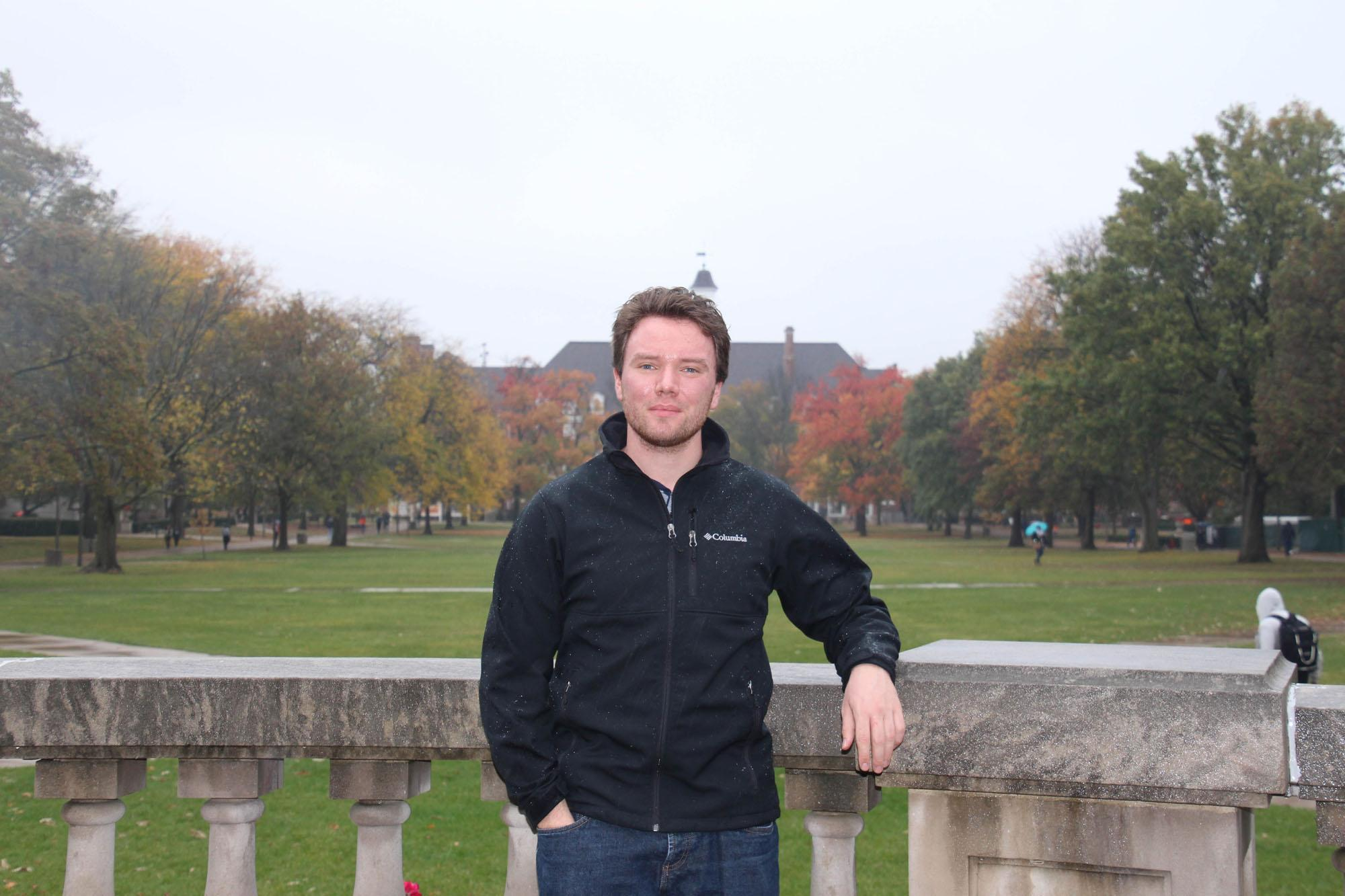 Portrait of German exchange student Daniel Friesen at the main quad by Flower Yang.