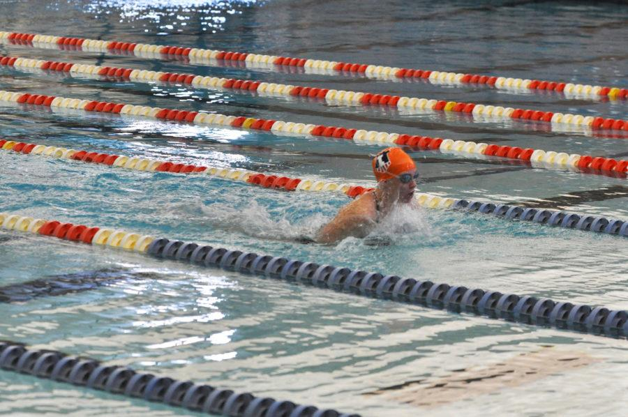 Hollie Smith, senior, swims the 50 yard breaststroke at the Fighting Illini Dual Meet Spectacular in the ARC Pool on October 16, 2015.