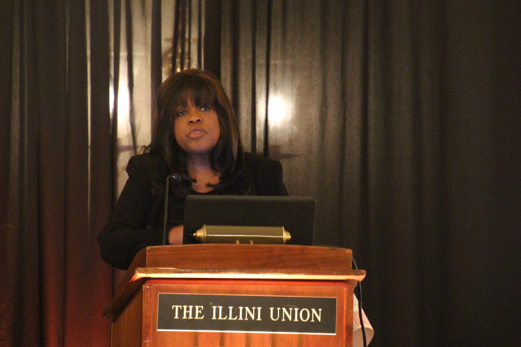 Roger Ebert's wife, Chaz Ebert, speaking at the Illini Union on Nov. 1, 2015.