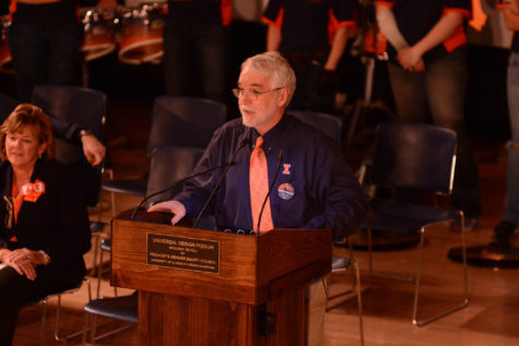 University of Illinois President, Timothy Killeen at the homecoming pep rally on Friday, Oct. 23, 2015.