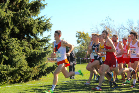 Illinois' Dylan Lafond during the Big Ten men's cross-country championship in Evanston, Illinois, on Sunday. Lafond finished third and helped the Illini end the meet in second.