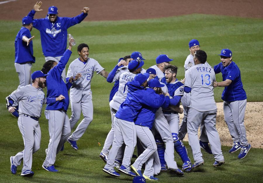 The Kansas City Royals celebrate after defeating the New York Met 7-2 to win the World Series on Sunday, Nov. 1, 2015 at Citi Field in New York. (Jill Toyoshiba/Kansas City Star/TNS)