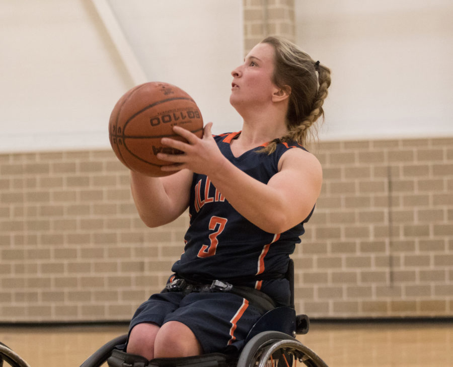 Illinois' Gail Gaeng readies for a shot during the wheelchair basketball game against Wisconsin-Whitewater at the ARC on Feb. 13. Gaeng is one of two Illini — the other is Megan Blunk — who qualified for the 2016 Rio Paralympics with Team USA.