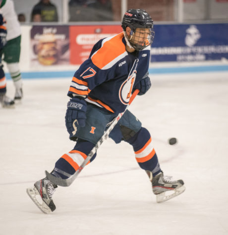 Tadayoshi Shibata stretches to block a shot during the game against Ohio University at the Ice Arena on Friday, Oct. 23. Illinois won 2-0.