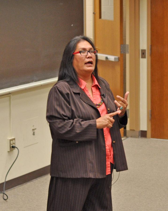 Trudie Jackson (Navajo), a Graduate Student in American Indian Studies-Tribal Leadership & Governance of Arizona State University, speaks about her experiences of a transgender Native American to a group of students at the University of Illinois Urbana-Champaign on Novemeber 3, 2015.