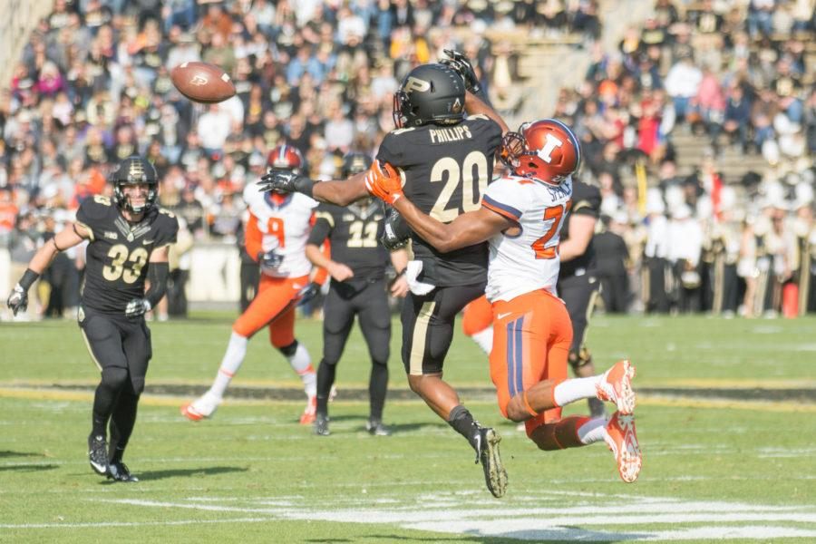 Defensive back Eaton Spence breaks up a pass during the game against Purdue at Ross-Ade Stadium on Saturday, Nov. 7. Illinois won 48-14.