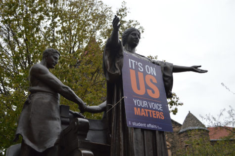 The it's on us campaign raises awareness for sexual assault by the Alma Mater on Oct. 29, 2015.