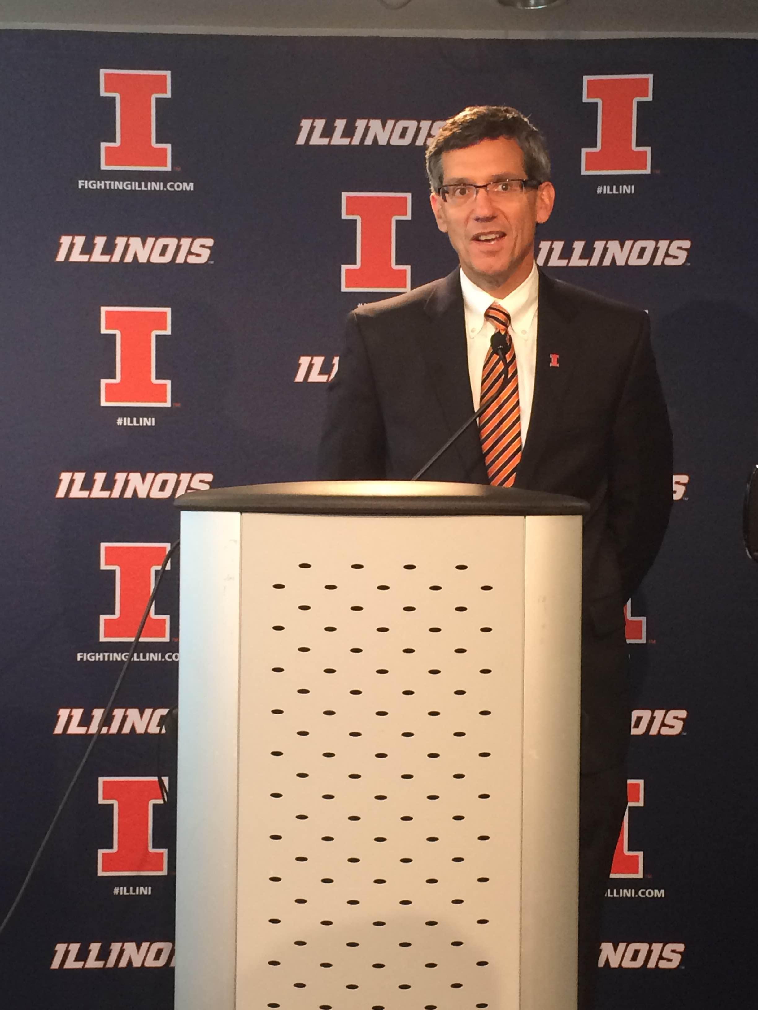 Interim Athletic Director Paul Kowalczyk speaksat the Memorial Stadium press box.