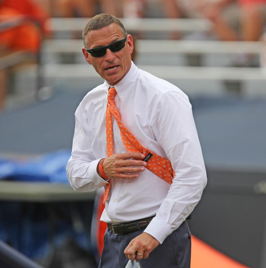 Illinois+athletic+director+Mike+Thomas+reacts+after+a+misplaced+punt+during+the+game+against+Youngstown+State+at+Memorial+Stadium+on+Saturday%2C+Aug.+30%2C+2014.+The+Illini+won+28-17.