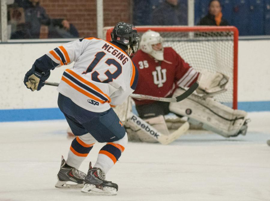 James+Mcging+puts+a+shot+on+goal+during+the+game+against+Indiana+at+the+Ice+Arena+on+Saturday%2C+Nov.+6.+Illinois+won+5-2.