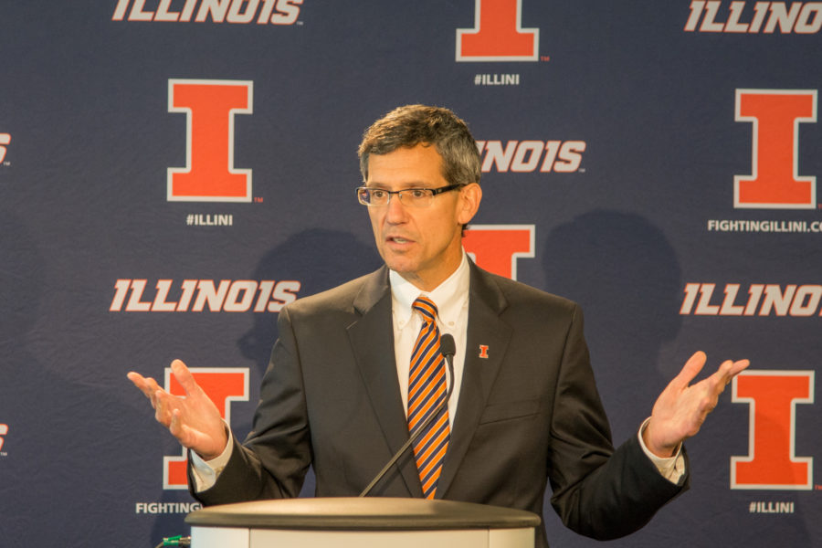 New interim Athletic Director Paul Kowalczyk addresses the media on November 10, 2015 at Memorial Stadium after the University announced his appointment to the position after firing Mike Thomas. Kowalczyk just officially announced his retirement, which will take effect on Aug. 31.