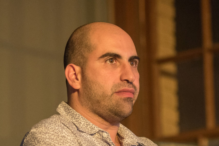 Steven Salaita discusses his new book Uncivil Rites: Palestine and the Limits of Academic Freedom at Independent Media Center in Urbana on Tuesday.