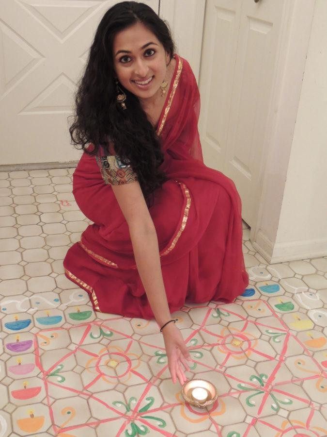 Photo+of+Megha+Mathur+celebrating+Diwali+at+home.+++++++++