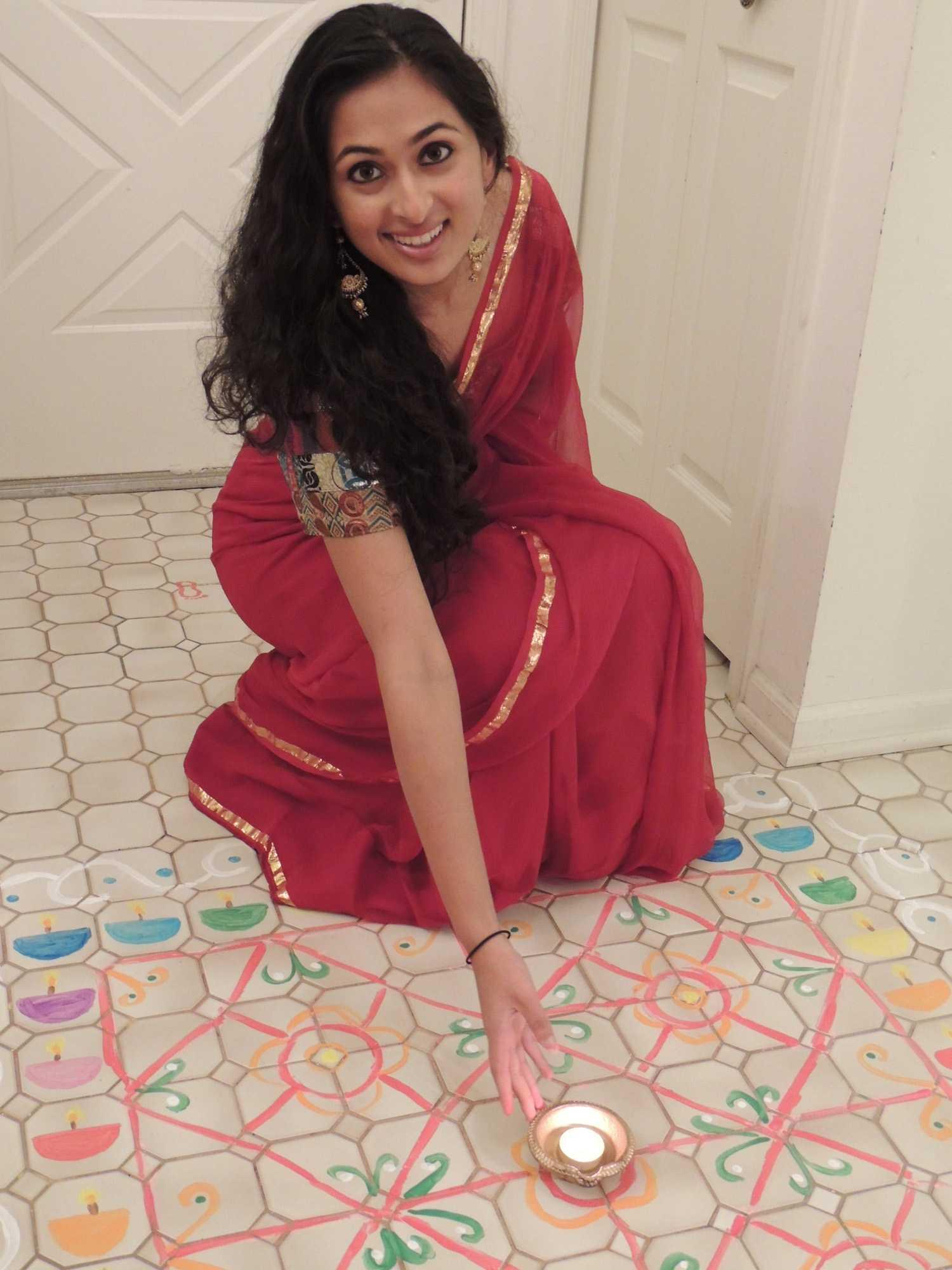 Photo of Megha Mathur celebrating Diwali at home.