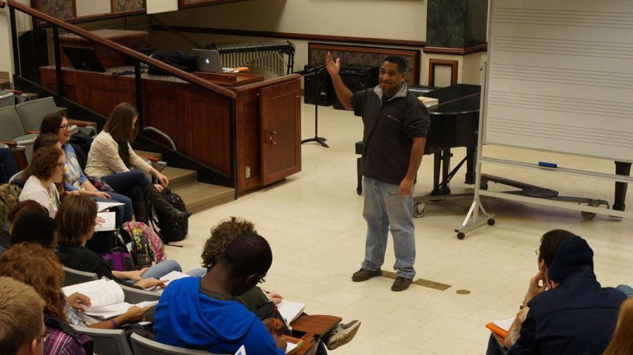 UIUC professor Carlos Carillos teaching the Music Theory and Practice II class at Smith Memorial Hall on Jan. 26, 2015.