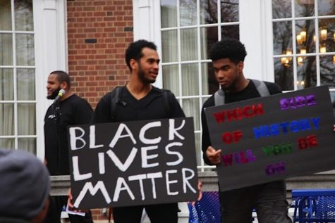 Students advocate for racial equality at a rally on the Main Quad on Nov. 18.