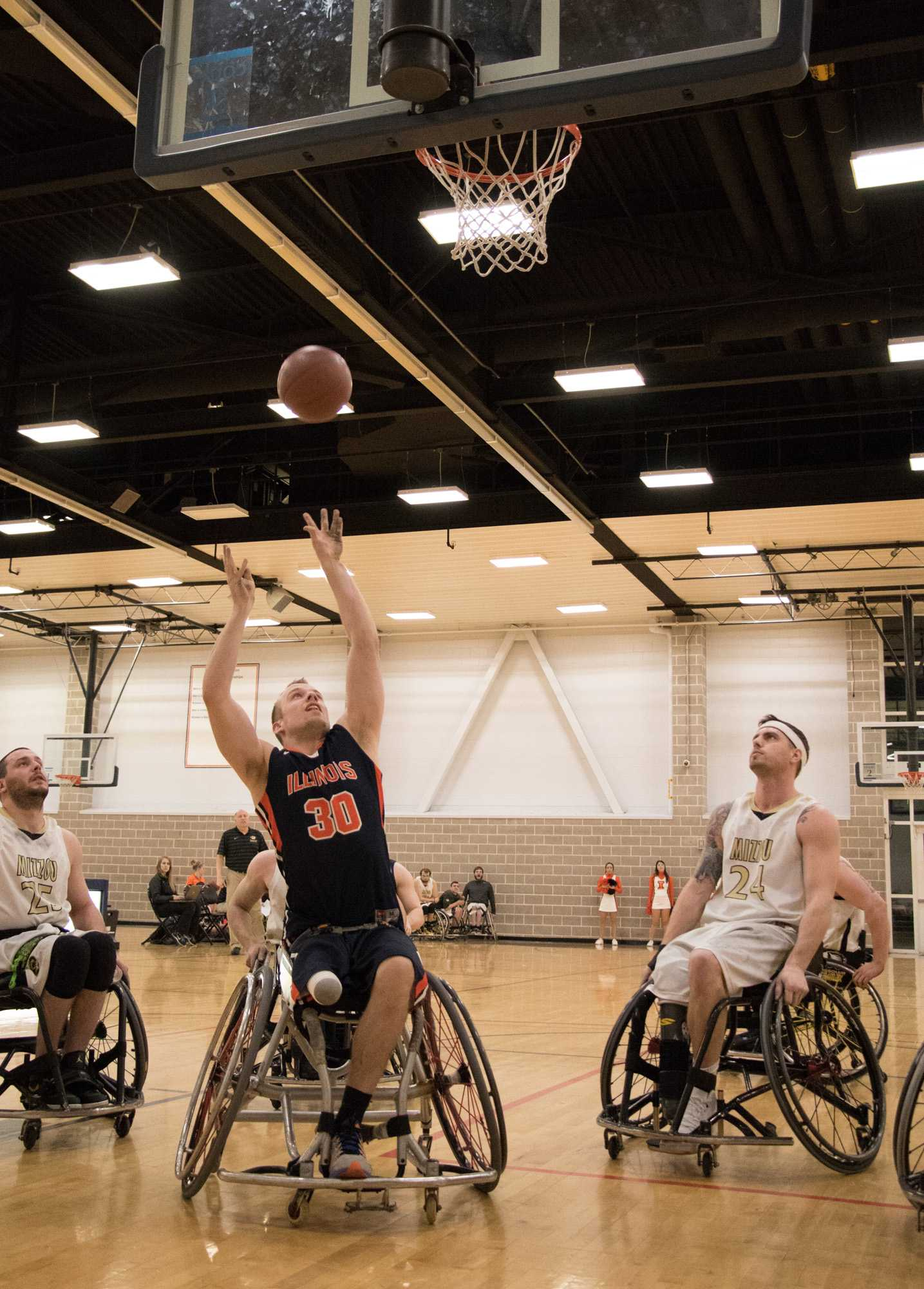 Illinois' Derek Hoot (30) attempts a shot during the wheelchair basketball game v. Missouri at the ARC on Friday, Feb. 13, 2015. Illinois won 53-46.