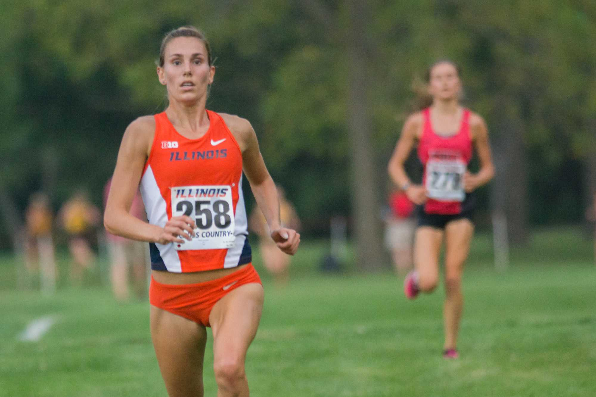 Alyssa Schneider(258) staying ahead of the competition at the Illini Challenge 2015 at the Arboretum on September 4.