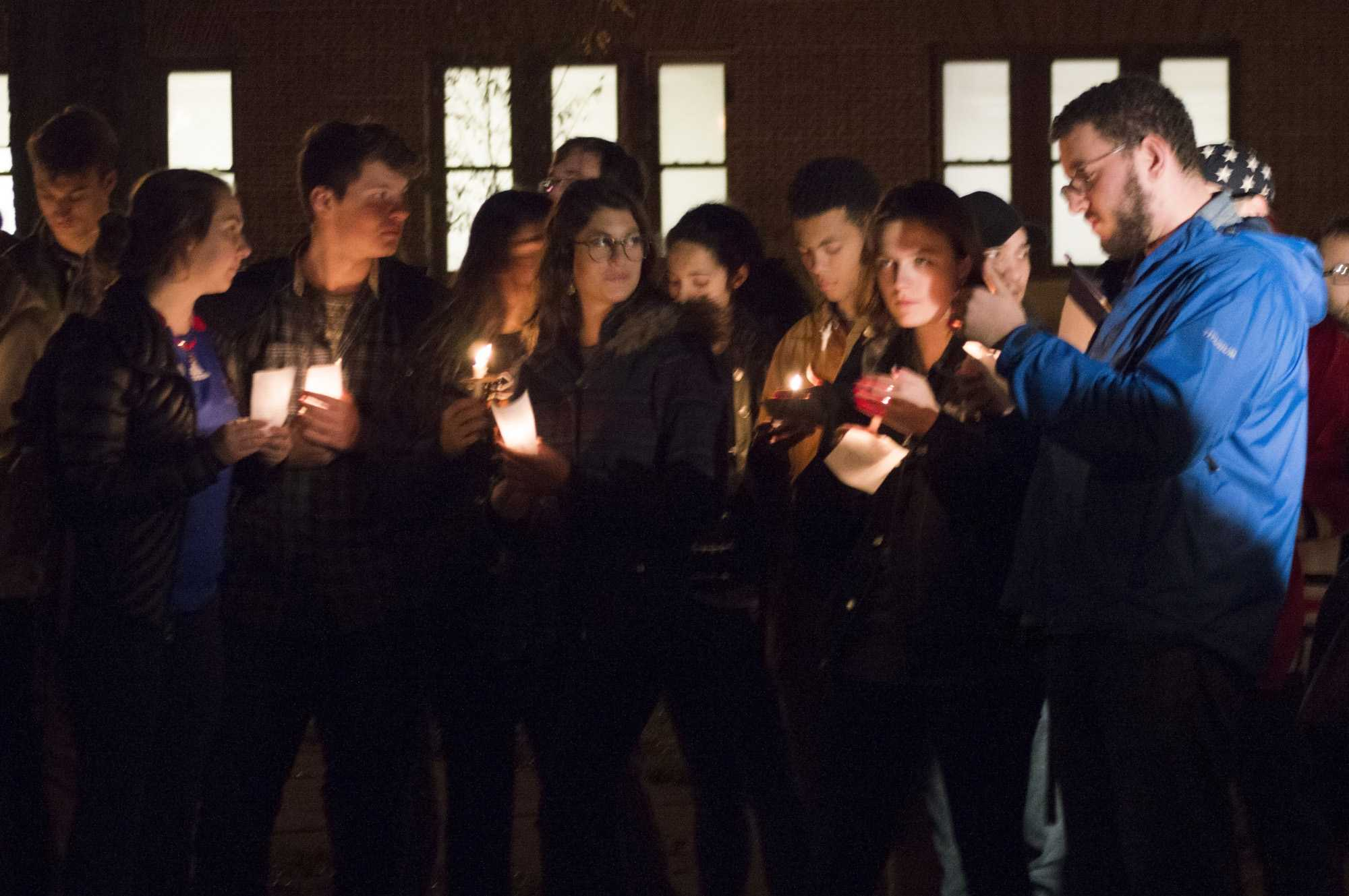 Illinois' students gather together to commemorate the victims of the recent attacks at the Main Quad on Nov. 18. 2015.