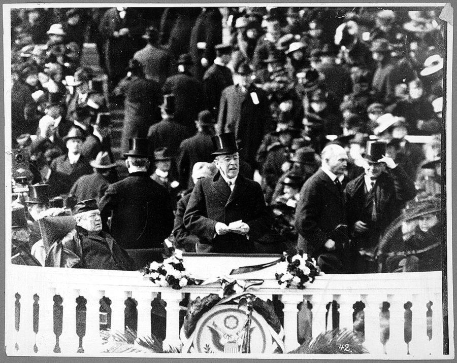 President+Woodrow+Wilson%2C+with+top+hat+and+speech+in+hand%2C+delivers+his+second+inaugural+address+at+the+U.S.+Capitorl+in+Washington%2C+D.C.%2C+March+5%2C+1917.+%28Library+of+Congress%2FMCT%29