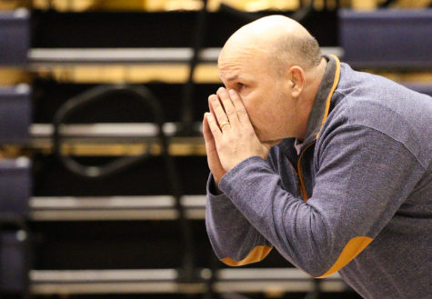 Kevin Vongnaphone The Daily IlliniIllinois' head coach Jim Heffernan makes a call out to the mat during the wrestling match vs. Nebraska at Huff Hall on Friday, Jan. 23, 2015. The Illini lost 22-9
