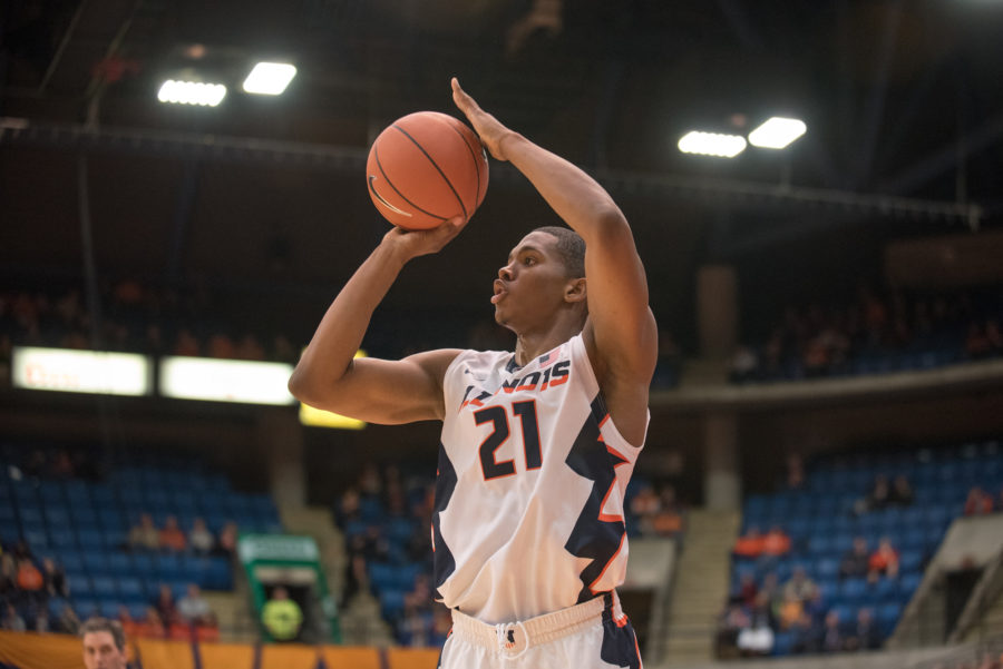 Malcolm Hill takes a jump shot during the game against Northern Florida at Prairie Capitol Convention Center on Friday.