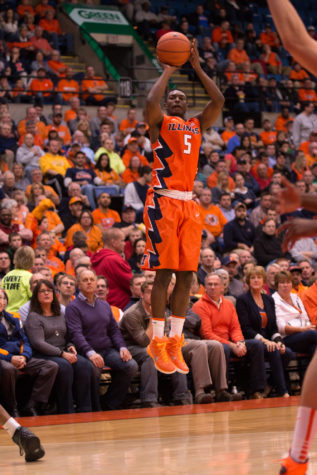 Illinois' Jalen Coleman-Lands(5) takes a jump shot during the game against Chicago State at the Prairie Capital Convention Center in Springfield, Illinois, on Monday, November 23, 2015. The Illini won 82-79.