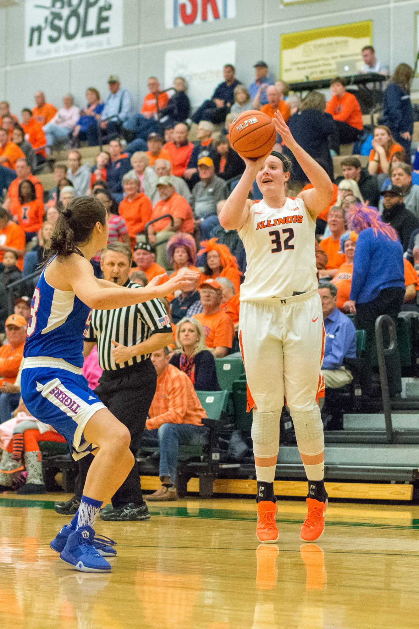 Center Chatrice White takes a three point shot during the game against Tennessee State at Parkland College on Tuesday, Nov. 24. Illinois won 98-43.