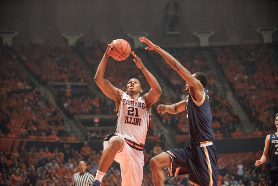 Guard Malcolm Hill drives to the basket during the game against Notre Dame at State Farm Center on Wednesday, Dec. 2. Illinois lost 84-79.
