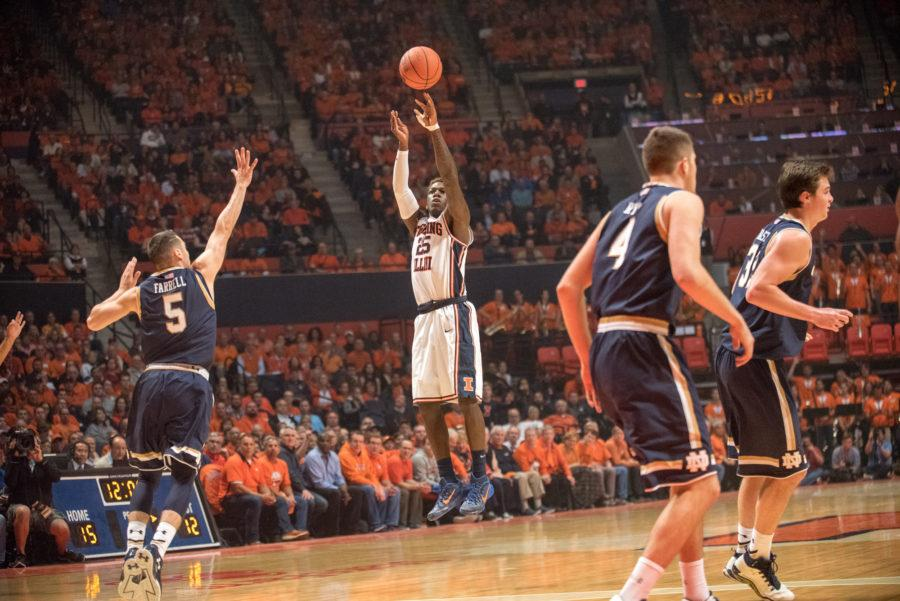 Illinois+guard+Kendrick+Nunn+takes+a+3-pointer+during+the+Illini%27s+loss+to+Notre+Dame+on+Dec.+1+at+State+Farm+Center.