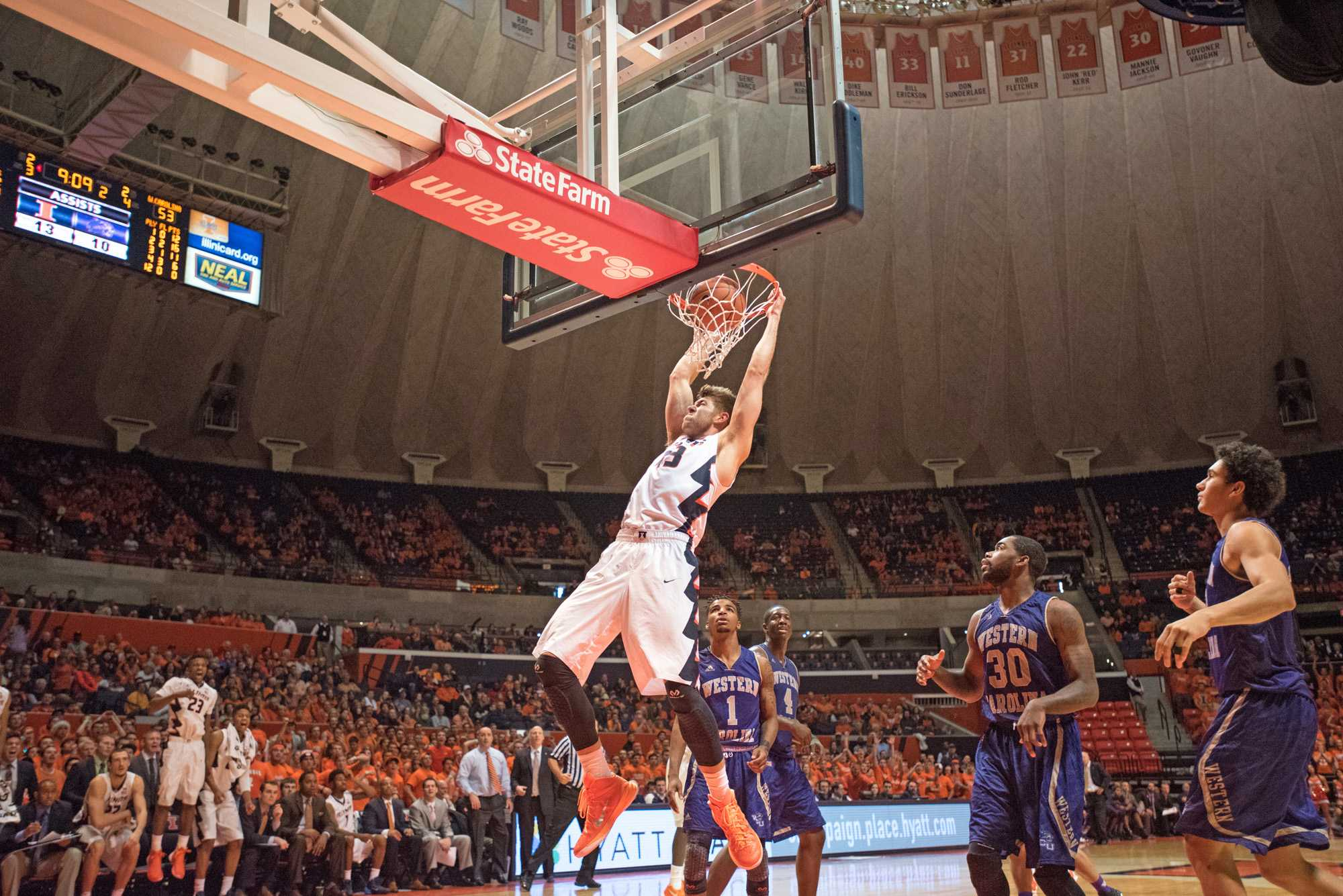 Forward Michael Finke dunks the ball during the game against Western Carolina at the State Farm Center on Saturday. Illinois won 80-68.