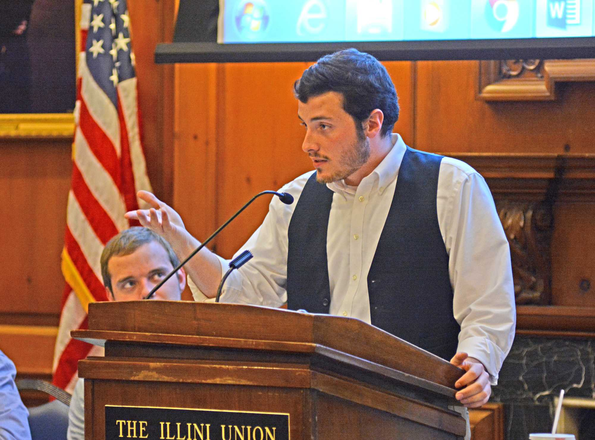 Alex Villanueva opens up the ISS meeting by speaking about the importance of veterans day in the Pine Lounge at the Illini Union on Nov. 11, 2015.