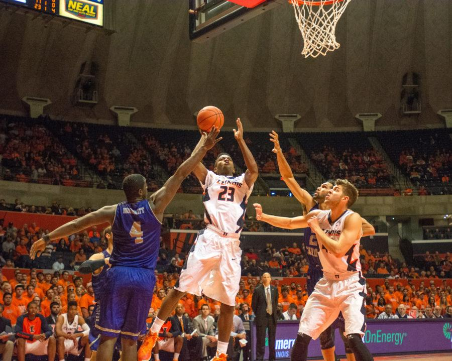 Guard Aaron Jordan drives to the basket during the game against Western Carolina at the State Farm Center on Saturday, Dec. 5. Illinois won 80-68.